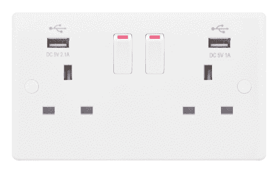 Selectric Ssl581 2 Gang Switched Sp 13 Amp Socket Outlets With 2 Usb Ports